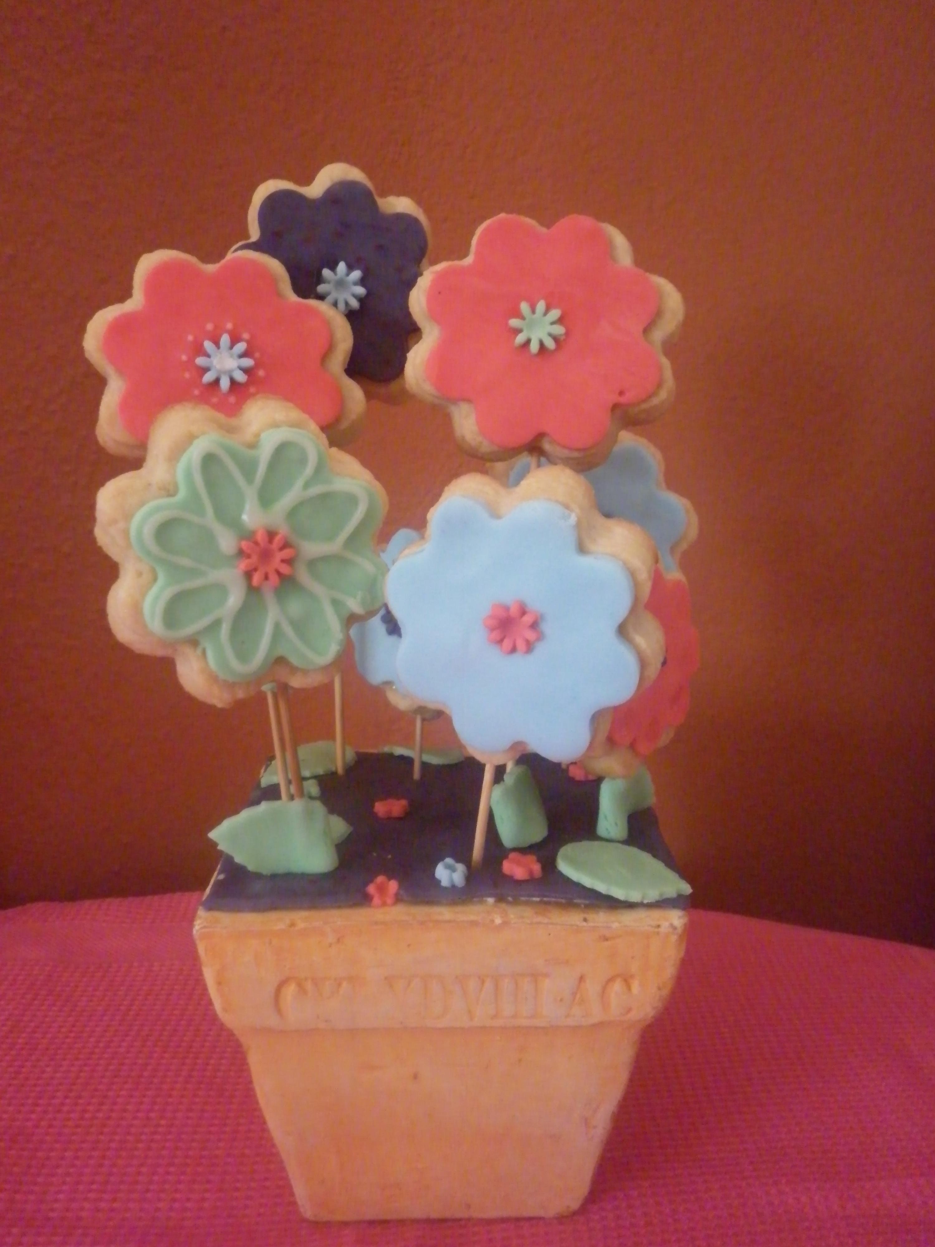 Biscotti fiore con stecco in pdz